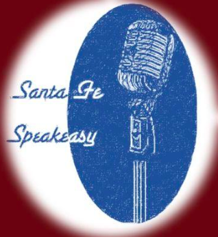 old fashioned microphone in a blue halo--logo for santa fe speakeasy