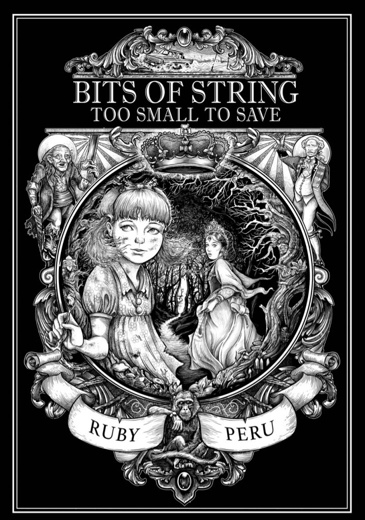 Bookcover: black and white illustrated cover of book: Bits of String too Small to Save