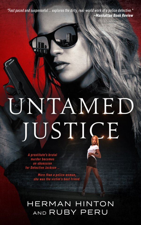 book cover with sexy armed lady detective
